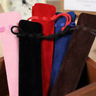 5x Velvet Pen Pouch Holder Single Pen Case Bag Pencil Rope Locking Top FO