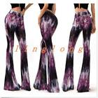 New Womens Mix Colors High Waist Bell-bottoms Long Pants Casual Trousers Printed