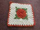 "Collectible Handmade Crocheted Pot Holder White Red Lime Rosette 5"" NICE"