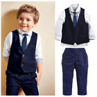Toddler Kids Boys Tops Shirt Waistcoat Tie Pants Formal Suit Outfits Clothes Set