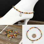 Multi-color Glass Beads Stretch Ankle Bracelet with Tibetan Silver Charm