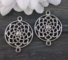 Lotus Flower Connector Charms Silver Tone Flower of Life Mandala CH156