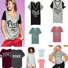 Street V Neck Letter Printed Striped Short Sleeve Women Casual T-shirt Tee Tops