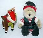 LOT SET OF 2 STARBUCKS BEARISTA BEAR ELF AND REINDEER PLUSH