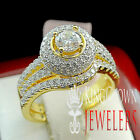 925 Womens Round Cut Ring Gold Finish Lab Diamond 2pc Solitaire Bridal Band Set