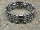 Men's SPORTSMAN SERIES 100% Silver Magnetic Hematite Bracelet 4 row Therapeutic