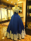 Satin Appliques Long Quinceanera Prom Formal Wedding Evening Ball Party Dresses