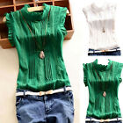 Summer Women Vests Top Flare Sleeve Blouse Lady Casual Solid Tops O Neck T-Shirt