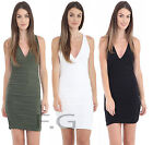 Womens Ladies Side Ruched Strappy Cross Back Slinky Bodycon Party Dress 8-14