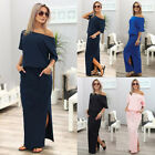 UK Womens Loose Short Sleeve Slit Maxi Holiday Ladies Casual Office Party Dress