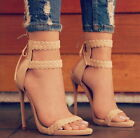 Women Nude Knitting Ankle Strap High Heels Sandals