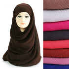 Pleated Crinkle Plain Women Hijab Scarf Shawl Head Wrap Lightweight Large Size