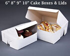 """6"""" 8"""" 9"""" 10"""" Inches White Cake Boxes Lids Wedding Birthday Presents Gift Craft"""