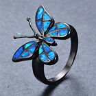 Beautiful Butterfly-Shaped Blue/White Opal Ring Black Gold Filled Jewelry Sz6-10