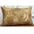"Spiral Sequins Gold King Shams, Art Silk 20""x36"" Pillow Cover - All Eyes On Gold"