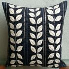 "Applique Black Accent Pillows, Faux Suede 12""x12"" Pillows Cover - White Leaf"