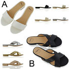 Womens Flat Summer Shoes Slip On Slider Ladies Holiday Beach Strappy Sandals 3-8