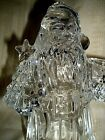 "SANTA CLAUS CRYSTAL TALL AND HEAVY TAPER CANDLE HOLDER 7 1/2"" BEAUTIFUL"