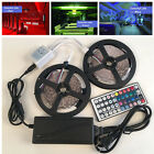 10M 5050 RGB LED Strip with 44keys IR Remote Controller +12V 6A Power Adapter US