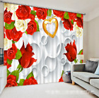 3D Red Flower 8 Blockout Photo Curtain Printing Curtains Drapes Fabric Window AU