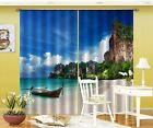 3D Beach Boat 8 Blockout Photo Curtain Printing Curtains Drapes Fabric Window AU
