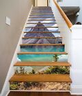 3D Mountain Lake 3 Stairs Risers Decoration Photo Mural Vinyl Decal Wallpaper US