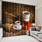 3D Coffee Beans Blockout Photo Curtain Printing Curtains Drapes Fabric Window CA