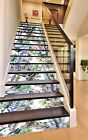 3D Feathers Flowers Stair Risers Decoration Photo Mural Vinyl Decal Wallpaper AU