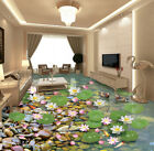 3D Lotus Leaf Pond Stone Floor WallPaper Murals Wall Print Decal 5D AJ WALLPAPER