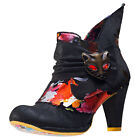 Irregular Choice Miaow Floral Womens Black Fabric Casual Ankle Boots Zip