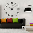 DIY Analog 3D Number Sticker Wall Clock Alloy Surface Large Home Decor Modern