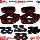 DAM FIGURE 8 WEIGHT LIFTING STRENGTH GYM BAR STRAPS NEOPRENE PADDED WRAPS