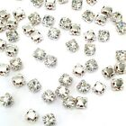 3mm-8mm Glass Rhinestone Sew-on silver settings montee beads crystal *Pick Color