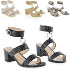 Womens Low Heel Strappy Peep Toe Shoes Ladies Evening Clubbing Party Shoes Size