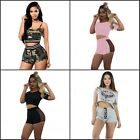 Women Short Sleeve Sportwear Stripe Crop Tops Shorts Suits Outfits 2 Pieces Sets