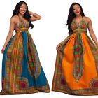 Sexy Women Halter Backless National Totem Print Clubwear Casual Long Dress