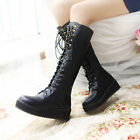 Gothic Womens Lace Up Wedge Heel Platform Knee High Creeper Punk Boots Plus Size