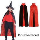 Halloween Costume Witchcraft Cape Cloak Wicca Robe Vampire Double-faced Black