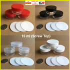 1x - 100x 4 COLOURS 10 / 15ml SCREW TOP JAR POT CONTAINER LIP BALM CRAFT NAILS