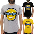 EMOJI HEADPHONE FACE / Mens, Black, Yellow, Grey T-Shirt