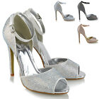 Womens Peeptoe Bridal Shoes High Heel Ladies Diamante Satin Prom Party Sandals