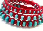 turquoise bracelet for protection woven with red thread Handmade