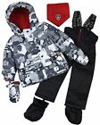 Deux par Deux Little Boys' 2-Piece Snowsuit Mechant Look Black, Sizes 18-36M