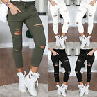 Fashion Women Ripped Holes Capri-pants High Waist Skinny Pencil Pants Trousers