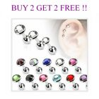 Flat Gem Steel  CZ Cartilage Upper Ear Stud Earring Helix Bar 1.2 x 6mm
