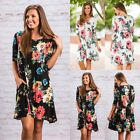 Womens Floral Swing Long Sleeve Pocket Holiday Ladies Casual Party Short Dress