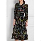 Autumn brand Occident fashion nail bead Modern Vintage printed long dress SMLXL