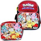 """Pokemon 12"""" Small School Backpack Lunch Bag 2pc Book Bag Set -Red Eevee Group"""