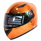 NENKI DVS NK-830 Chrome Orange Double Visor Full Face Motorcycle Helmet  DOT