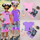 US Stock Toddler Kids Baby Girls Outfits T-shirt Tops Pants 2pcs Set Clothes NEW